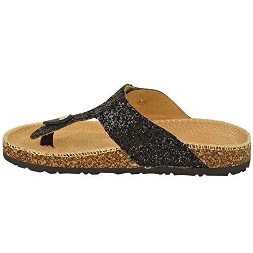 Sandals Fashion Womens Post On Grip Thirsty Toe Slip Flat Black Size Glitter Flip Glitter Thong Flops tFqTpBqwx