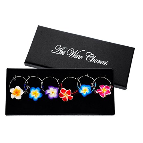 Souarts Mixed 6pcs Polymer Clay Flower Pendants Glass Charms Marker with Gift Box ()