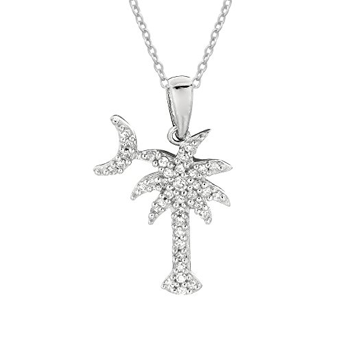 Sterling Silver Shiny Cubic Zirconia Palmetto Moon & Palm Tree Small Pendant Necklace 18 Inches