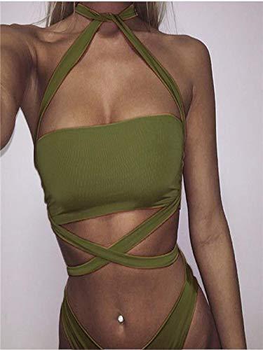 Lmx+3f Women's Bandage Swimwear One Piece Swimsuit Push Up Bikini Solid Soft Comfy Swimwear / 3 Colors Choose Green