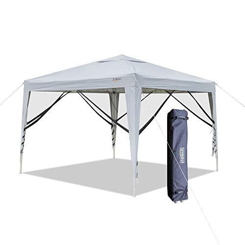 VINGLI 10 x10 EZ Pop Up Canopy Tent w 4 Matching Mesh Removable Wall Panels, Folding Instant Sun Shade Shelter Outdoor Garden Wedding Party Gazebo Canopy,W Roller Carry Bag White