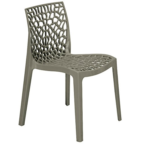 Pearl Grey Polypropylene Chair - Reinforced Plastic Chair for Inside and Outside - Commercial and home use BrackenStyle