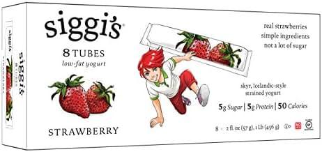 Siggi's, Low-Fat Yogurt Tubes, Strawberry, 2 oz, 8 tubes