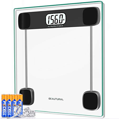 BEAUTURAL Digital Body Weight Bathroom Scale Precision Weighing Scale with Step-On Technology, Large Display, Batteries and Tape Measure Included,400lb