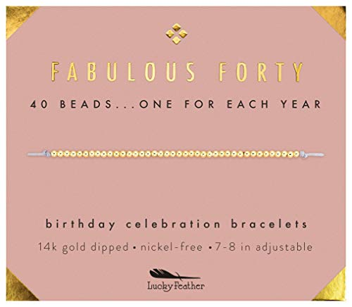 Lucky Feather 40th Birthday Gifts for Women, 14K Gold Dipped Beads Bracelet on Adjustable 7Ó- 8Ó Cord - Perfect 40th Birthday Gift Ideas for -