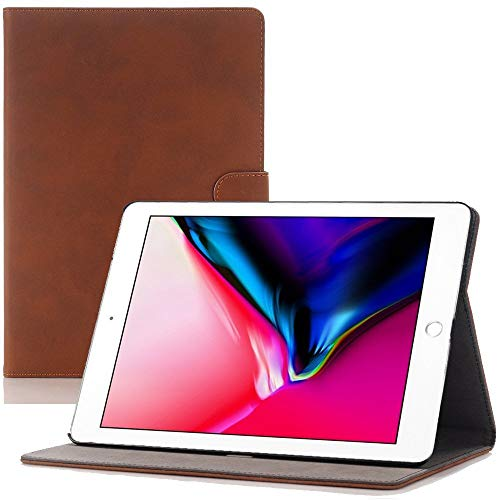 2019 New iPad Mini 5th Generation Folio Case, elecfan Luxury Book Style Flip Case Stand Screen Protective PU Leather Magnetic Smart Cover with Auto Sleep/Wake for iPad Mini 5 7.9 inch, Dark Brown