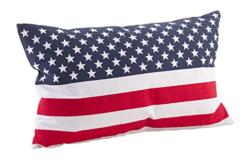 SARO LIFESTYLE 0704P.M1423B Star Spangled Collection American Flag Design Cotton Lumbar Duck Filled Throw Pillow, 14 X 23 , Multi