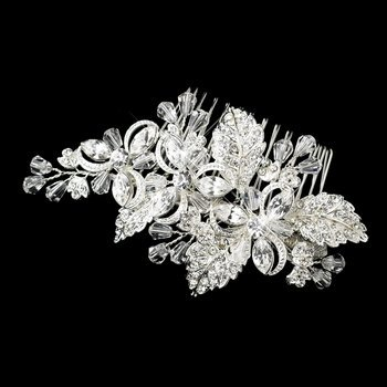 Louise Silver Plated Floral Wedding Bridal Comb by Fairytale Bridal Tiara