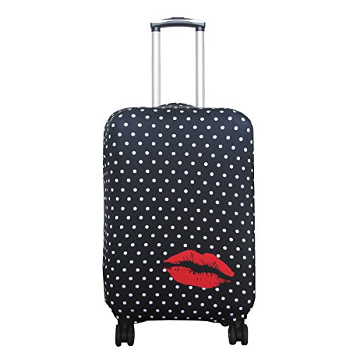 Explore Land Travel Luggage Cover Suitcase Protector Fits 18-32 Inch Luggage (Polkadot, S(18-22 inch Luggage))