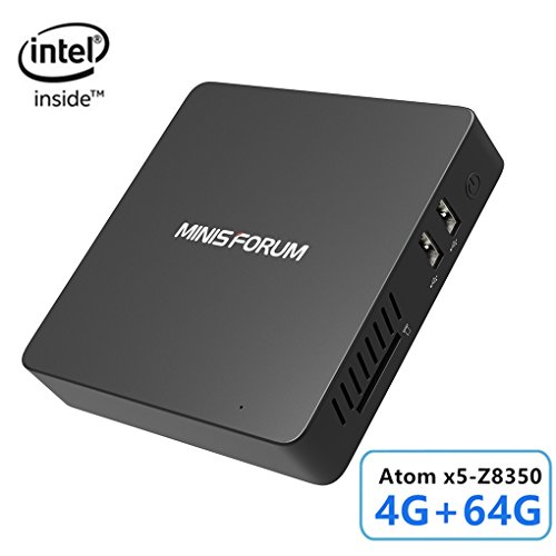Mini PC, Intel Atom x5-Z8350 Processor (2M Cache, up to 1.92 GHz)4K/4GB/64GB 1000Mbps LAN 2.4/5.8G Dual Band WiFi BT 4.0 Dual Screen Display with HDMI and VGA Ports,Fanless Computer Support Windows 10 (Wi Computer Fi Tower)