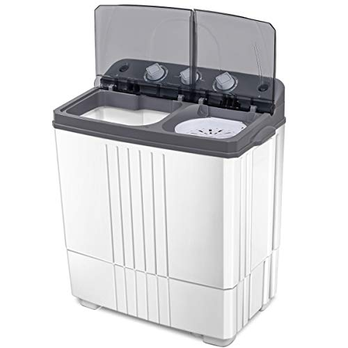 LHONE Portable Twin Tub Washing Machine with Spin Dryer 16 lbs Mini Washer and Spain Spinner Gray & White