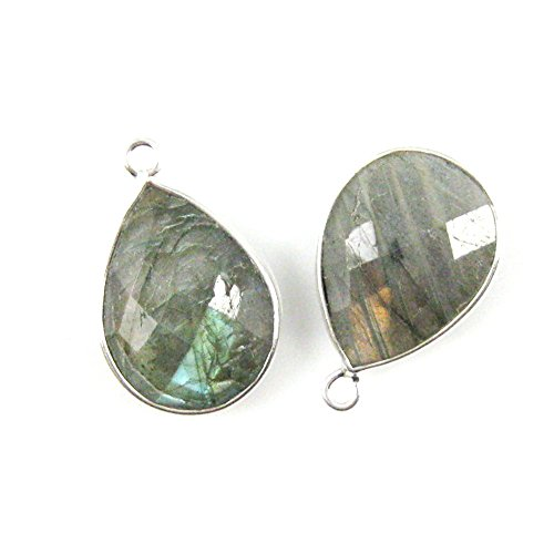 Gemstone Pendant - Sterling Silver - 13x18mm Faceted Pear Shape - Labradorite (Sold Per 2 (Faceted Labradorite Pendant)
