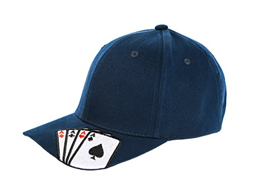 Poker Cotton Hat - Magic Casino Four Aces Poker Gambling Playing Card Adjustable Cotton Baseball Cap - Navy Blue