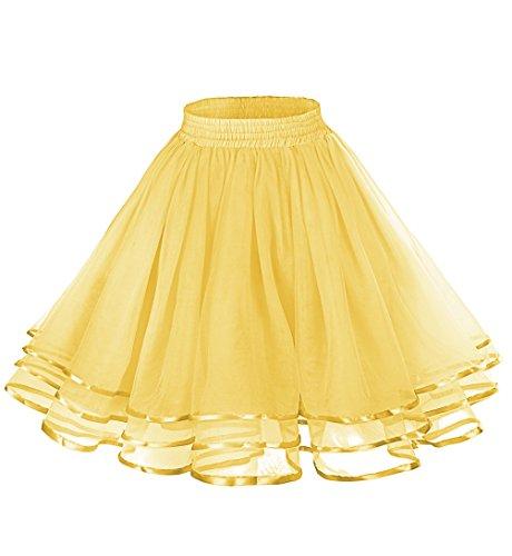 LaceLady Women's Vintage Petticoat Tutu Underskirt Crinoline Dance Slip with Belt Yellow S - Vintage Crinoline