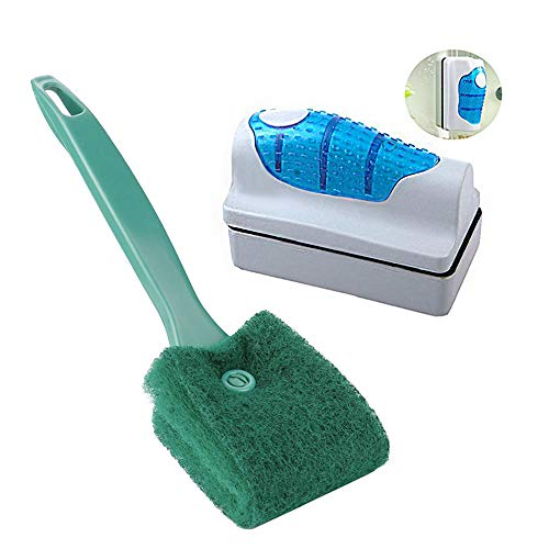 (MUMAX Aquarium Cleaner, Magnetic Fish Tank Glass Algae Glass Cleaner and Double Sided Sponge Brush Cleaner Long Handle Set for Glass Aquariums Home Kitchen (S))
