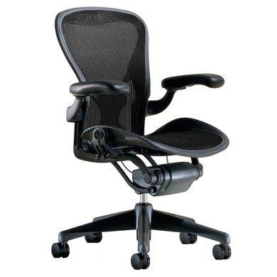 Herman Miller Classic Aeron Task Chair: Tilt Limiter w/Seat Angle Adj – PostureFit Support – Fully Adj Vinyl Arms – Standard Carpet Casters