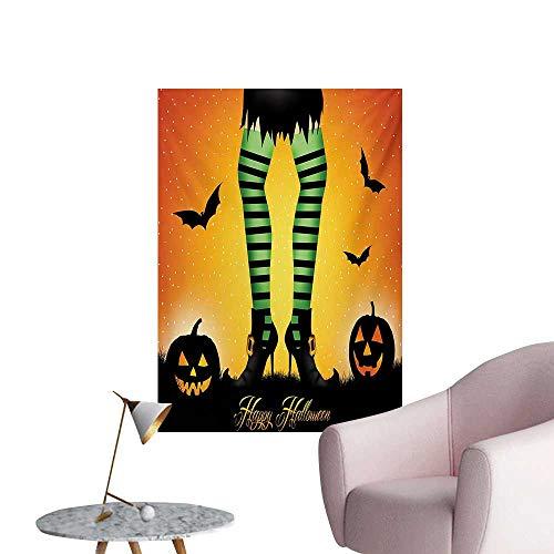 Anzhutwelve Halloween Wallpaper Cartoon Witch Legs with Striped Leggings Western Concept Bats and Pumpkins PrintMulticolor W24 xL36 Art Poster ()