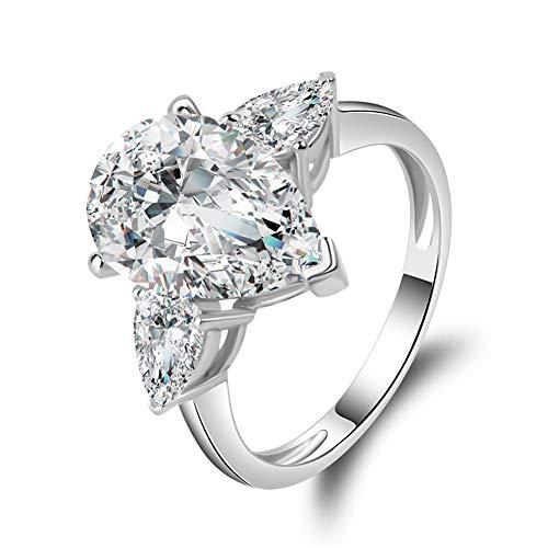 (Erllo Sona Diamond Cubic Zirconia Women 925 Sterling Silver 4.5 carats Pear Cut White Cz Engagement Wedding Ring (8))