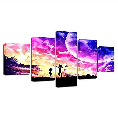 Fbhfbh Artwork Poster Canvas Painting 5 Pieces Hd Prints Rick and Morty Home Animation Decor Cartoon Wall Art Kids Room Modular Picture,16X24/32/40Inch,with Frame]()