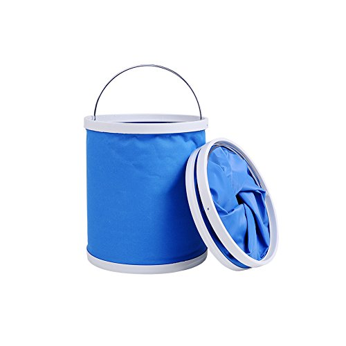 Folding Pail - HaloVa Collapsible Bucket, No Leakage Car Wash Bucket, Multi-function Outdoor Portable Folding Pail Fishing Cleaning Water Container for Hiking Camping House Working, Blue