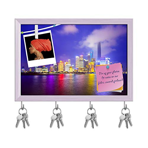 (Artzfolio Shanghai City Skyline of Pudong District, China D2 Key Holder Hooks | Notice Pin Board | White Frame 14.5 X 10Inch)