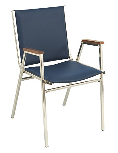 KFI Seating 411 Stacking Chair, Navy Vinyl, - Chairs Upholstered Square Stacking Back