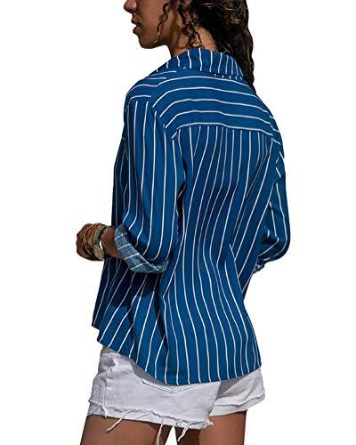 Tunique Chic Minetom Manches Femme Shirt Chemisier Longues Chemise Button Blouse Automne Col Ray Classique Printemps V Bleu Mode Tops Up A EqZqIrx