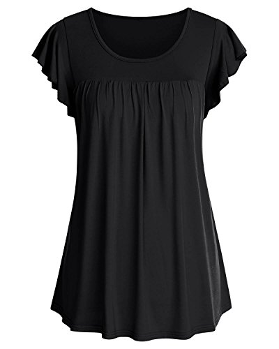 - ABYOXI Tunic Shirts for Women,Ladies Stylish Flutter Short Sleeve Pleated Flowy Tops Black L