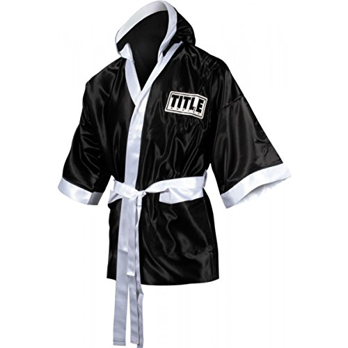 TITLE Boxing 3/4 Length Stock Satin Robe, Black/White, Youth Large