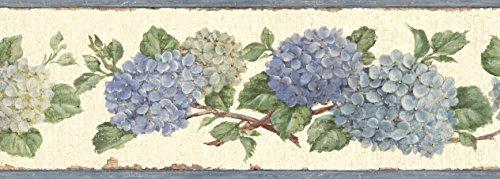 (Chesapeake BBC46001B Esther Hydrangea Trail Wallpaper Border, Blue)