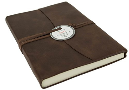 Capri Large Chocolate Handmade Italian Leather Wrap Journal, Lined Pages (21cm x 15cm x 2cm)