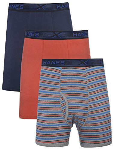 (Hanes Men's 3-Pack Tagless 100% Cotton Boxer Briefs with X-Temp and FreshIQ Technology - Extended Sizes Navy/Orange)