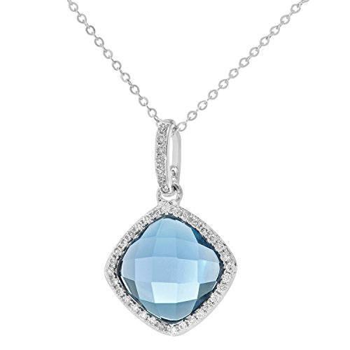 Revoni Bague en or blanc 9carats-Diamant et 2.65ct Pierre Topaze Coussin Alice Pendentif avec chaîne de 46cm