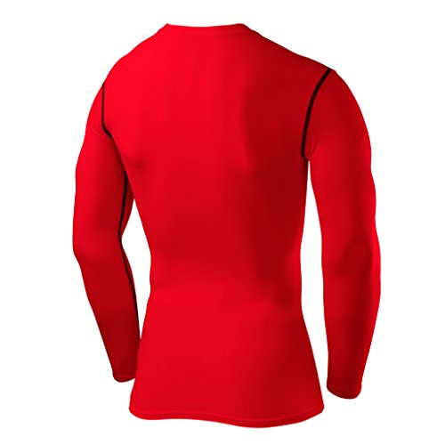 PowerLayer Men's Boys Compression Shirt Long Sleeve Base Layer Thermal Top - Red Small Boy (6-8 Years) by PowerLayer (Image #2)
