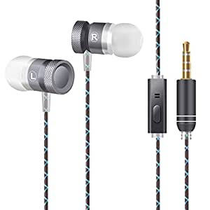 CHOETECH In-Ear Earphones, 3.5mm Wired Metal Stereo Earphones with Mic Microphone Music Headphones Headset Noise Cancelling Headset for Smartphones, Tablet, Computer