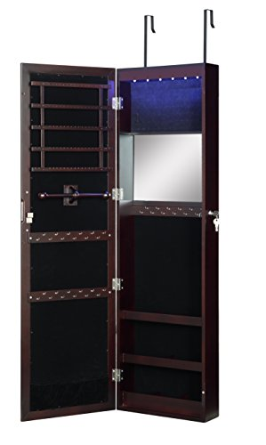 Abington Lane Over The Door Jewelry Armoire - Lockable Wall Mounted Organizing Cabinet with Full Length Mirror and LED Lights (Espresso)
