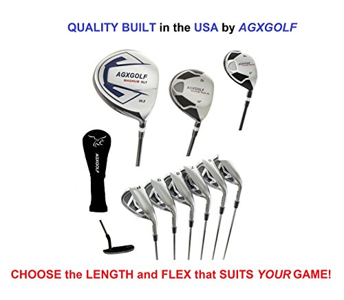 """AGXGOLF Men's XS Tour Edition Complete Golf Set w/460 Driver +3 Wood + 4 Hybrid + 5-9 Irons + Pitching Wedge + Sand Wedge: Stiff Flex, Tall Length +1.5""""; Right - Iron Pitching Set 3 Wedge"""
