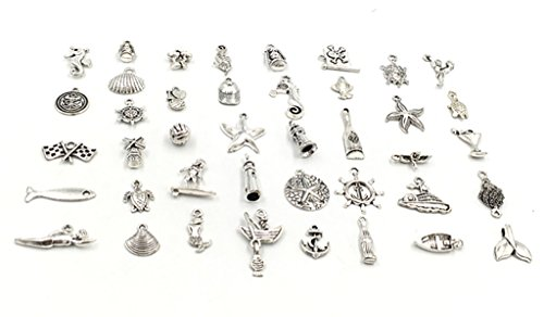 e Theme Ocean Elements Charms Pendants Connector for DIY Jewelry Making Accessories By Alimitopia(Antique Silver Tone) ()