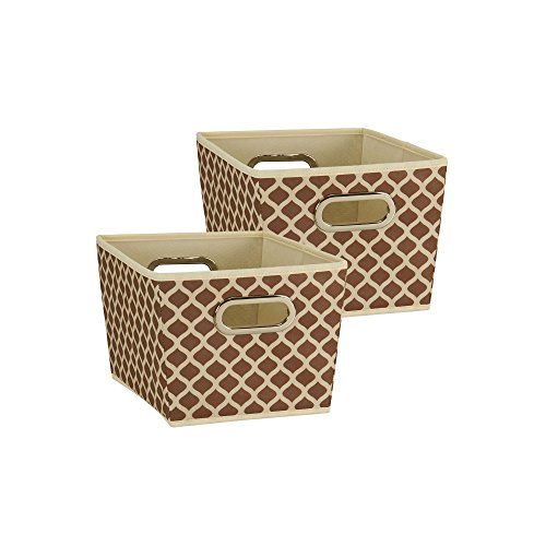 Household Essentials 77 Small Tapered Decorative Storage Bins | 2 Pack Set Cubby Baskets | Canvas with Mocha Pattern