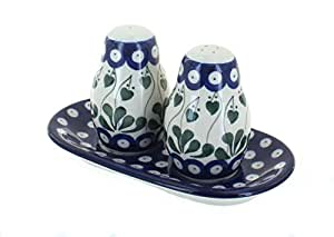 Polish Pottery Alyce Salt & Pepper Shakers with Tray