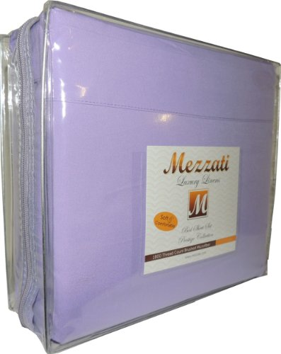 Mezzati Luxury Bed Sheets Set - Sale - Best, Softest, Coziest Sheets Ever! - High Quality 1800 Prestige Collection Brushed Microfiber Bedding - Money Back Guarantee (Lilac, Twin) - Cotton Twin Size Bed In A Bag