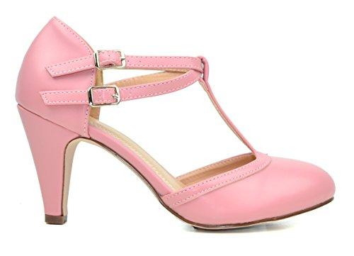 Chase & Chloe Kimmy-58 Donna Doppia Fibbia T-strap Retro Pompa Color Rosa Polveroso