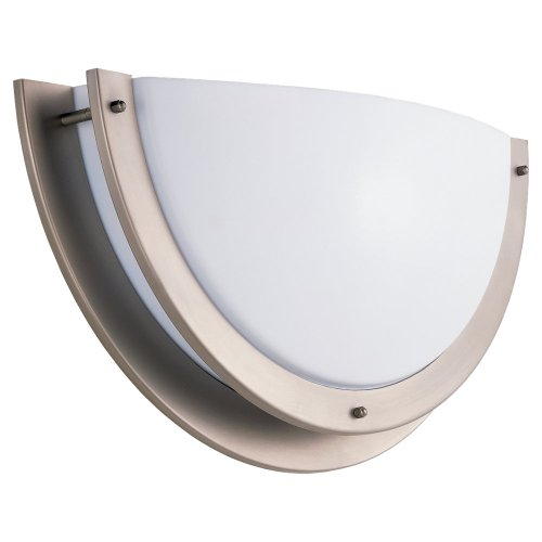Sea Gull Lighting 49151BLE-962 Bathroom Sconce with White Lens Shades, Brushed Nickel Finish