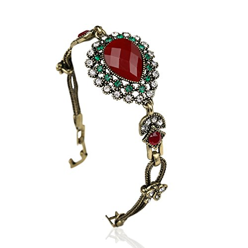 ChokuShop Turkish Jewelry Charm Red Water Droplets Antique Gold Vintage Bracelet For Women Friendship (Vintage 14k Gold Charm)