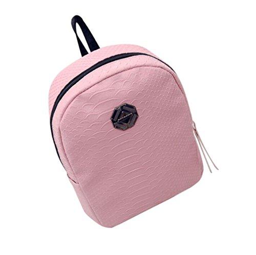 Bovake - Bolso mochila  de poliéster para mujer Rosa