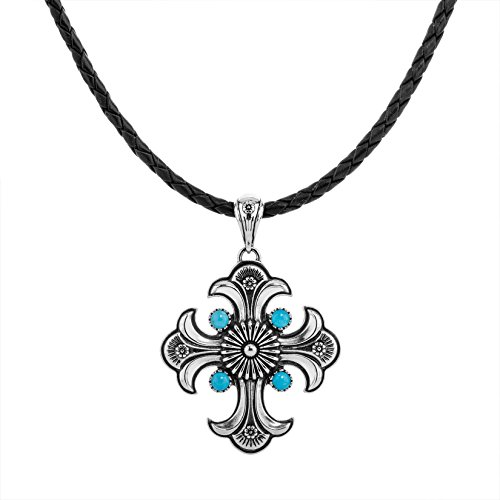 American West Sterling Silver Turquoise Cross Pendant Black Leather Necklace 16 to 18 Inch