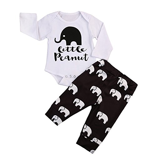 Newborn Baby Boy Girl 2Pcs Set Outfit Long Sleeve Peanuts Romper Bodysuit and Elephant Long Pants (0-3 Months, White+Brown)