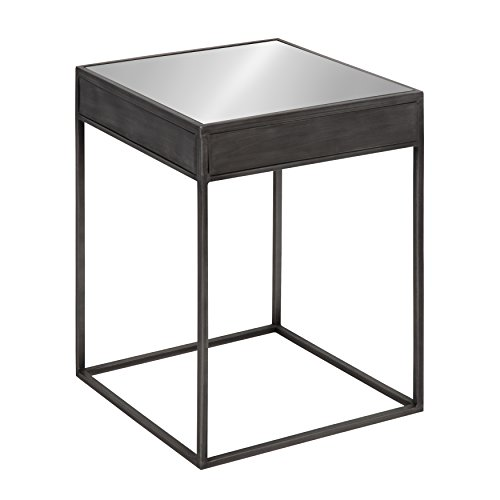 - Kate and Laurel Aleksand Industrial Modern Square Mirror and Metal Accent Side End Table, Metallic Gray, 16-inches wide x 16-inches deep x 22-inches tall