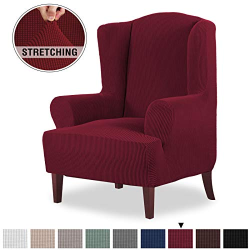 1 Piece Stretch Jacquard Spandex Fabric Wing Back Armchair Furniture Protector for Living Room Wing Chair Covers with Elastic Loops Stay in Place, Machine Washable (Wing Chair, Burgundy Red) (Red Wings Fabric)