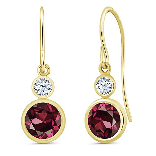 Gem Stone King 2.22 Ct Round Red Rhodolite Garnet 14K Yellow Gold Earrings